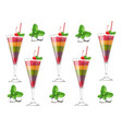 exotic fruits cocktail pattern realistic vector image vector image
