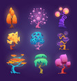 fairytale plants magic tree glowing effects vector image
