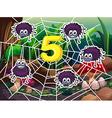Five spiders around number 5 vector image vector image