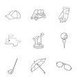 golf club set icons in outline style big vector image vector image