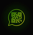 green qr code in speech bubble linear icon vector image
