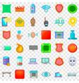 hacker icons set cartoon style vector image vector image
