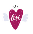 hand drawn heart with wings vector image vector image