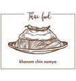 khanom chin namya on plate from thai food vector image vector image