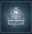merry christmas icon vintage chalk board vector image