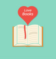 open book with a bookmark and heart vector image vector image