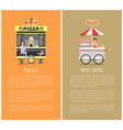 pizza and hot dog mobile shops vector image vector image