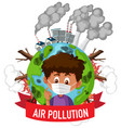 poster design for stop pollution with boy wearing vector image vector image