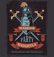 poster with of medieval warrior vector image vector image