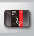 premium quality goose meat package and label vector image vector image