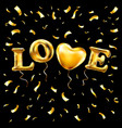 romantic golden heart frame on black background vector image