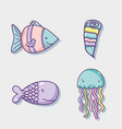 sea animal hand drawing cartoons vector image vector image