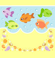 sea animals cartoon background card with fish vector image vector image