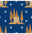 seamless pattern with houses and trees on hills vector image vector image