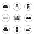 set of 9 editable interior icons includes symbols vector image vector image