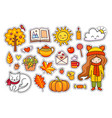set of cute hand drawn autumn elements vector image