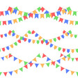 set of garland with celebration flags chain red vector image vector image