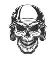 Skull in the baseball helmet