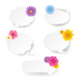 speech bubble set with flowers white background vector image