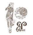 stylized zodiac sign aries vector image vector image