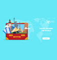 suitcase bag with cartoon famous landmarks vector image