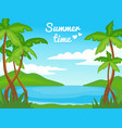 summer time nature landscape with palm trees and vector image