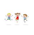 Three jumping children vector image