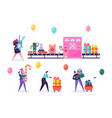 toy factory conveyor pack christmas gift present vector image