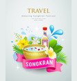 travel amazing songkran festival water splash vector image vector image