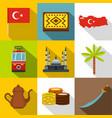 turkey travel icon set flat style vector image vector image
