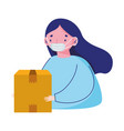 woman with and delivery box prevention ecommerce vector image