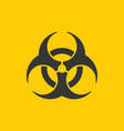 yellow danger coronavirus biohazard warning sign vector image vector image