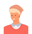 young man blond with short hair on a white vector image
