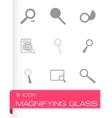 magnufying glass icons set vector image