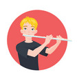 musician playing flute boy flutist is inspired to vector image