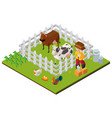 3d design for farmer and farm animals vector image vector image