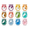 alarm clock set icons with five to sixty minutes vector image