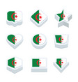 algeria flags icons and button set nine styles vector image