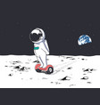 astronaut rides on gyro scooter vector image vector image
