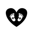baby footprints with pet pawprints inside of vector image vector image