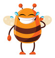 bee is laughing in tears on white background vector image vector image
