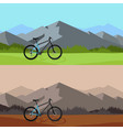 bicycle riding in wild mountain nature landscape vector image