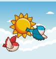 birds flying cartoon vector image