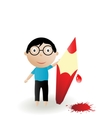 boy colour pencil with blots vector image