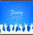 bright blue party background group people vector image