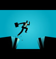 businessman jumps over the ravine vector image vector image