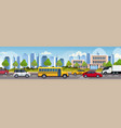 cars and bus driving asphalt road over school vector image