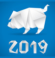 chinese new year 2019 pig origami vector image vector image