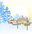 Christmas card with village vector image vector image