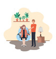 couple in living room drinking coffee vector image vector image